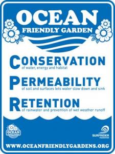 Surfrider Ocean Friendly Garden Sign - Liquid Blue