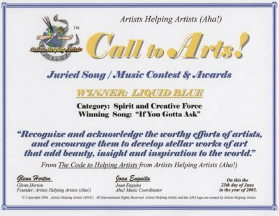 Artists Helping Artists Award - Liquid Blue