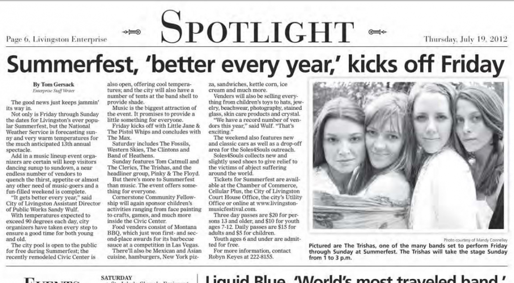 Livinston MT Newspaper Article - Liquid Blue