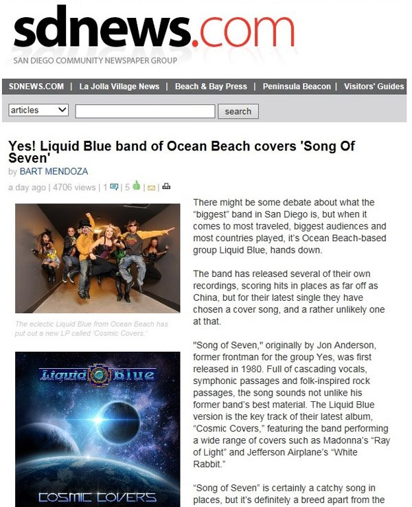 SD News Publishes Article - Liquid Blue