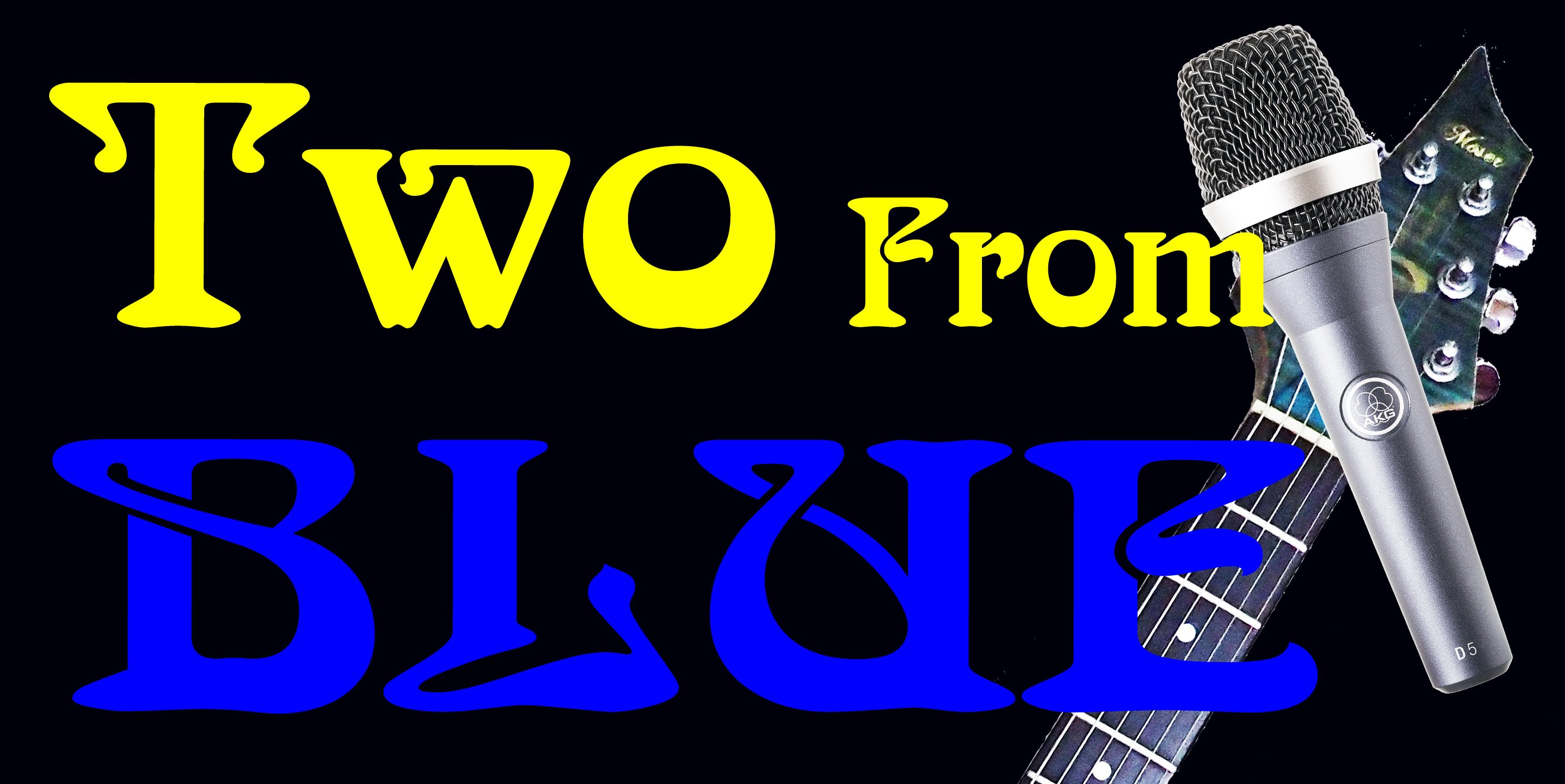 Two From Blue Logo - Guitar and Mic - Liquid Blue