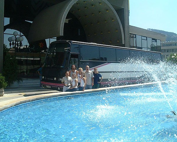 Posing In Front of Our Tour Bus