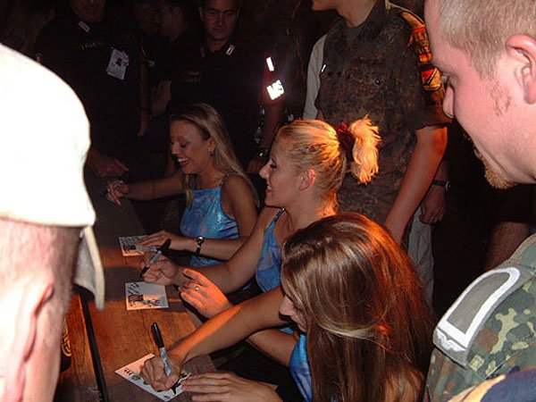 Signing BlueGirls Postcards
