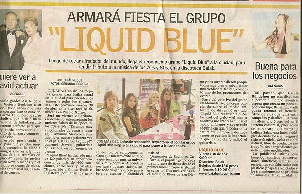 2010-04-23 Liquid Blue Band In Tijuana Baja CA Mexico Newspaper Article